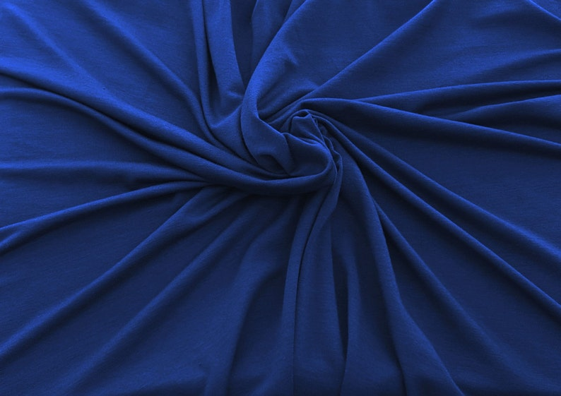 True Blue Bamboo Spandex Fabric Jersey Knit by the Yard 4 Way image 0