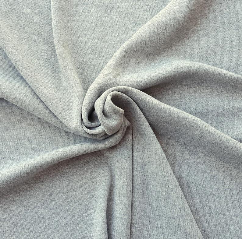 Heather Gray Interlock Sweater Knit Fabric by the Yard image 1