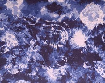 Blue White Tie Dye Print 7 Fabric Jersey Knit by the Yard Rayon Spandex