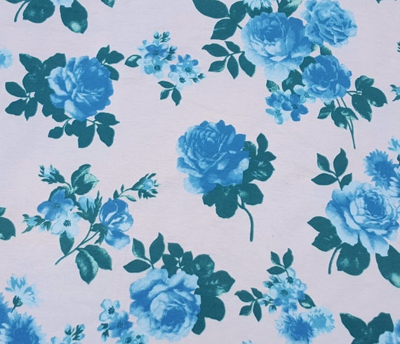 fe20a332077 Combed Cotton Lycra Blue Flower Print Fabric Jersey Knit by   Etsy