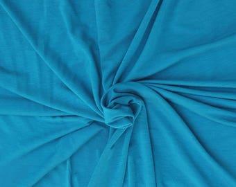 Hemp Spandex Jersey Knit Fabric by the Yard Blue 4 Way Stretch