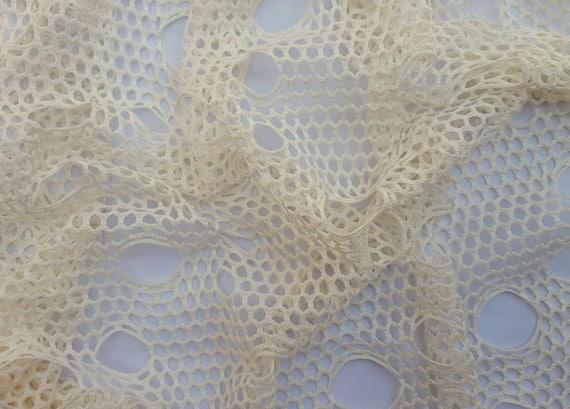 Novelty Ivory Fishnet Knit Fabric 6/16 Spider Web Fabric