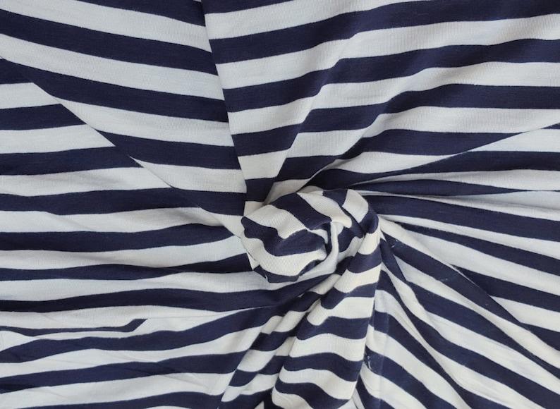 b288159f1bf Navy White 1/2 Stripe Print Fabric Rayon Spandex Jersey | Etsy