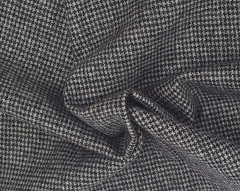 Wool Houndstooth Black Gray Fabric by the Yard 250GSM