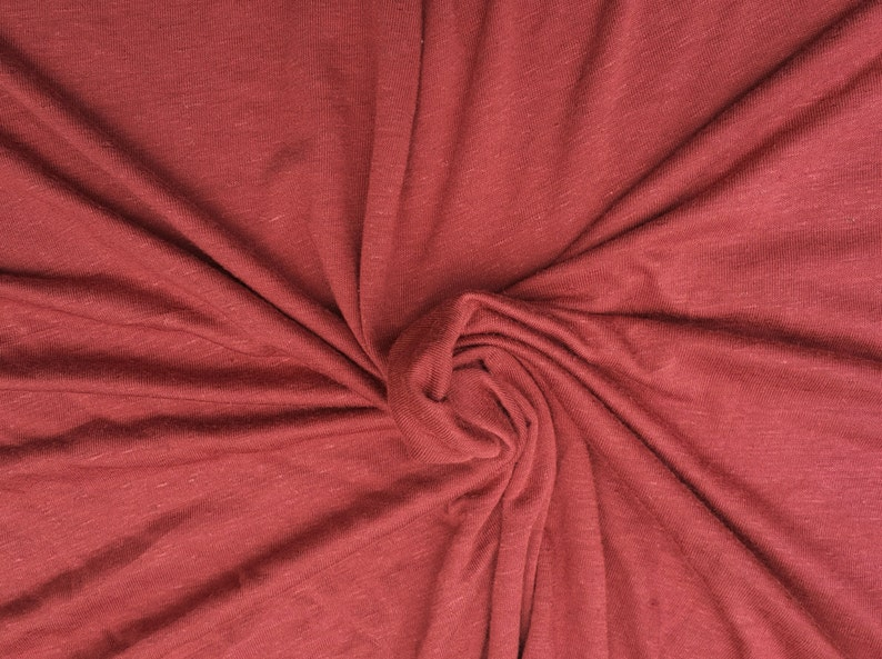 2868e55341e Rustic Red Linen Blend JERSEY Knit Fabric By Yard Pre Washed | Etsy