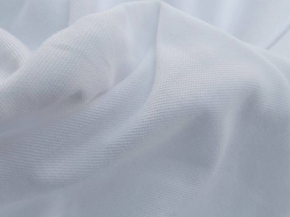 White 100 Combed Cotton Pique Fabric By The Yard Pre Washed