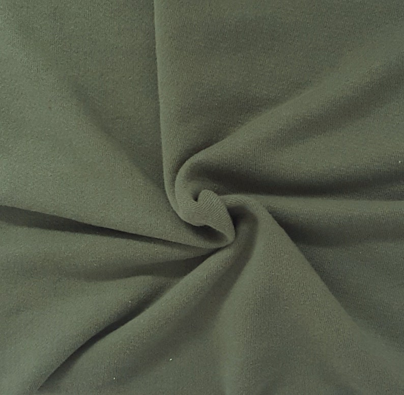 Army Green Cotton French Terry Knit Fabric by the Yard 390GSM HEAVY WEIGHT 10//18