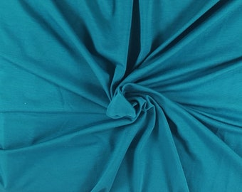 Teal Organic Cotton Spandex Fabric Jersey Knit By the Yard 210 GSM