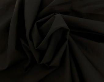 Black Cotton Poplin Stretch Woven Fabric by the Yard