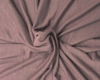 "Mauve Linen Blend JERSEY Knit Fabric By Yard Pre Washed 61""W 5/16"
