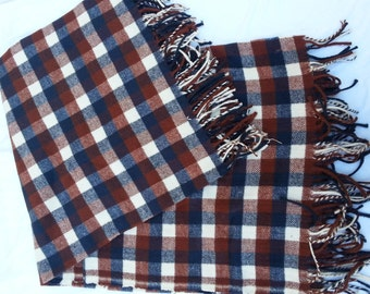 Cotton Flannel Fringed Plaid Fabric, Social Distance Picnic / Wedding Blanket, Couch Throw Blanket
