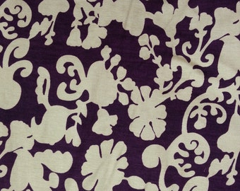 Modal Spandex Jersey Knit Fabric by the Yard Damask Floral Print Purple / Beige