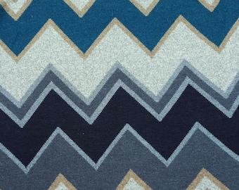 "Sweater Knit Fabric by Yard Turquoise Navy Gray Chevron Zig-Zag Design 56""W"