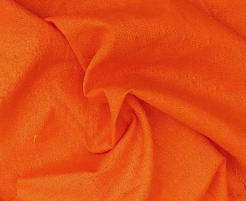 Bright Orange Cotton Linen Fabric by the Yard 1117