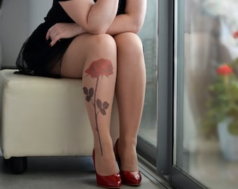 Tattoo Tights with  Rose, Semi-Sheer Tights, S-XXL Sizes Available, Printed Tights, Pantyhose, One Pair