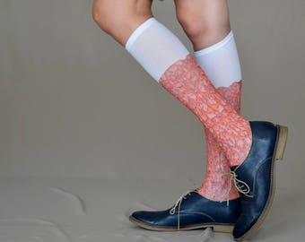 New Knee High  Socks with Chipped paint Texture Print, Hand Printed Nylon Socks