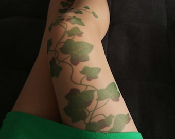 Poison Ivy Opaque Tights Green Ivy Leafs Print Poison Ivy Printed Tights