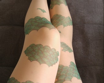 New Mermaid Scale Tattoo Tights , S-XXL Sizes Available, Mermaid Costume , Green Fish Scale