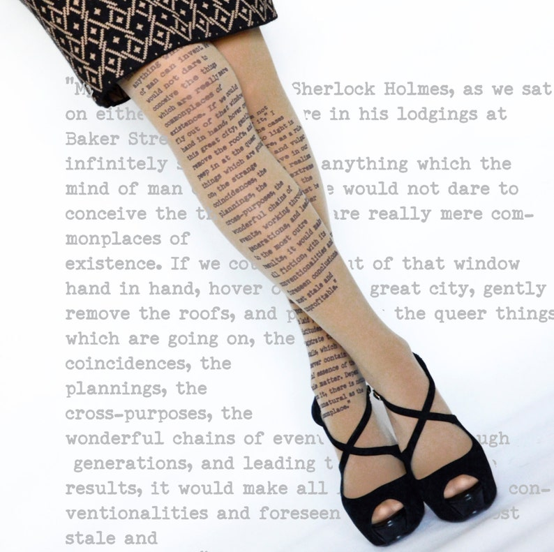 cb2e6c8becd Sherlock Holmes Opaque Tights Literary tights Poetry