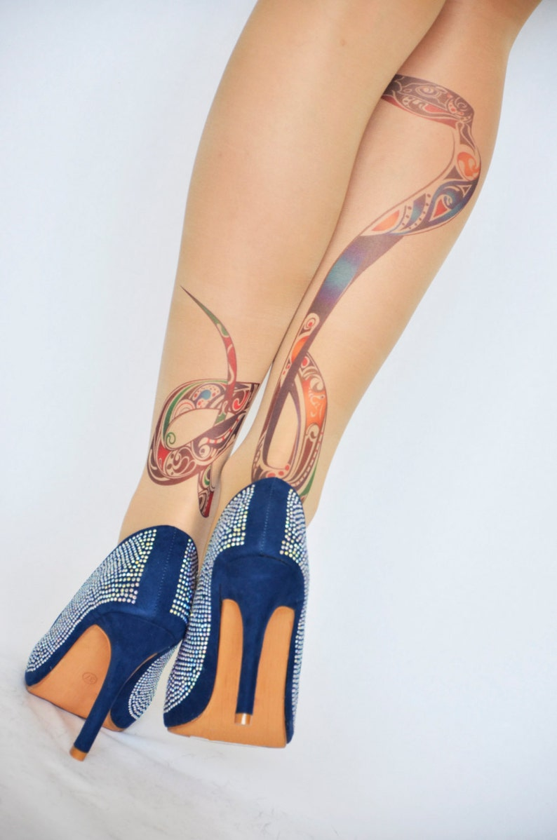dd8d239e07c3e Snake Print Tattoo Tights Hand Printed Tights Snake | Etsy