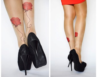 Beautiful Tattoo Tights With Roses , Printed  Handmade Tights , Tattoo Womens Pantyhose