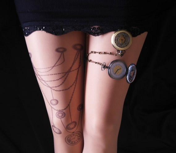 Steampunk Wedding Steampunk Clock Tattoo Tights Steampunk Art Steam punk Clock Semi Sheer Tights