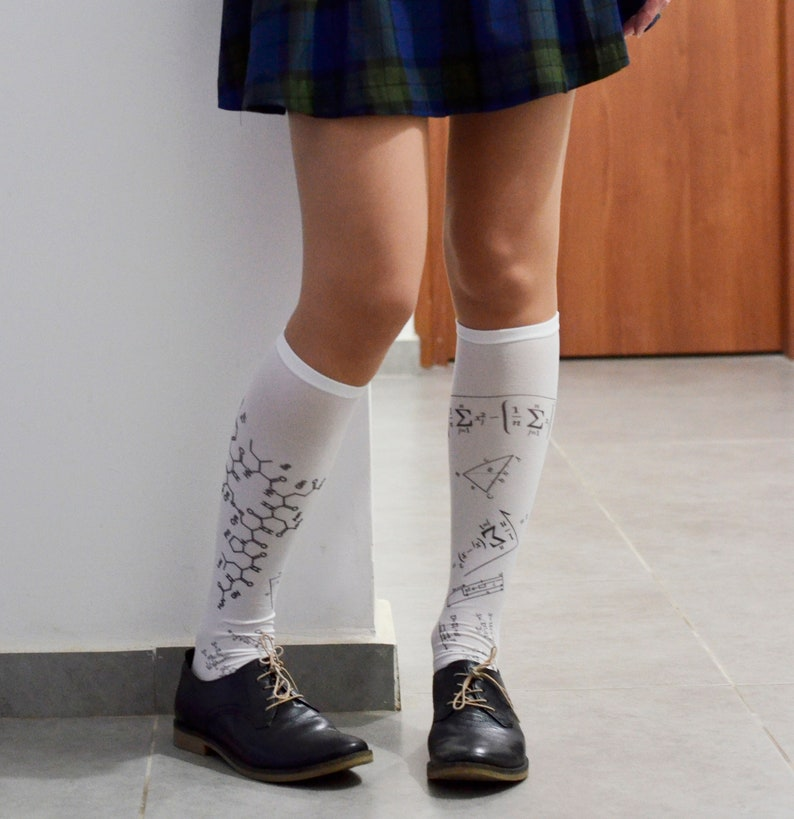 f82ac7dc334 Mathematical Formula Print Socks Opaque Printed Knee High