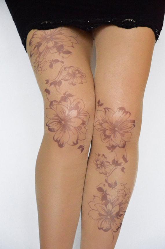 Collants Tattoo Avec Des Fleurs Imprime Imprime A La Main Etsy