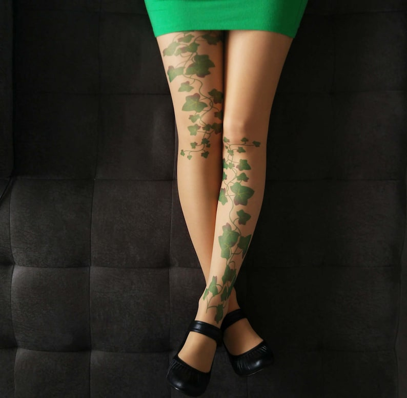 8289e2af1169f Poison Ivy Tattoo Tights Nude S-XXL Sizes Available | Etsy