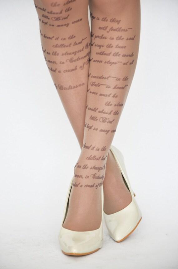 Emily Dickinson Hope Poem Printed Tights Poetry Etsy