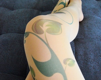 Poison Ivy Opaque Tights , Green Ivy Leafs Print ,  Poison Ivy Printed Tights