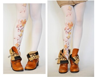 White Handprinted Tights With Flowers,Print tattoo Leggings,Fashion Pantyhose,Gifts Under 25