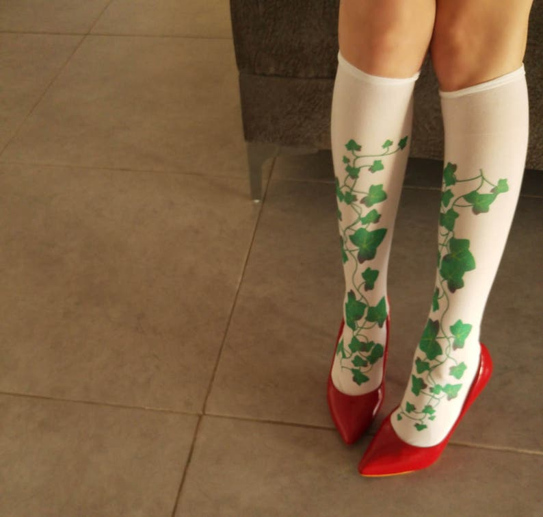 60a63281307c8 Poison Ivy Socks Opaque Printed Knee High Socks Hand   Etsy