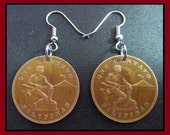 Classic Jewelry (1944 Vintage World War II - United States Administration - 1c Bronze quot Warrior Volcano, Eagle quot Coin Earrings) Kawaii Chic