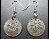 Classic Jewelry (1965 Vintage 6p Great Britain LUCKY Six Pence quot Tudor ROSE, Shamrock, Thistle Leeks quot Coin Charm Earrings) British ENGLAND