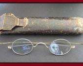 Classic Antique (1800s Vintage Oval Spectacles, Straight Temple Embossed Eyeglasses Original Leather Case) Benjamin Franklin Steampunk Gem