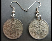 Classic Jewelry (1960 Vintage 6p Great Britain LUCKY Six Pence quot Tudor ROSE, Shamrock, Thistle Leeks quot Coin Charm Earrings) British ENGLAND