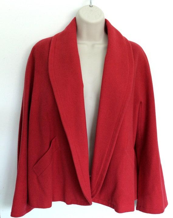 Vintage 1950's Red Half Coat or Box Coat- Snow Mis