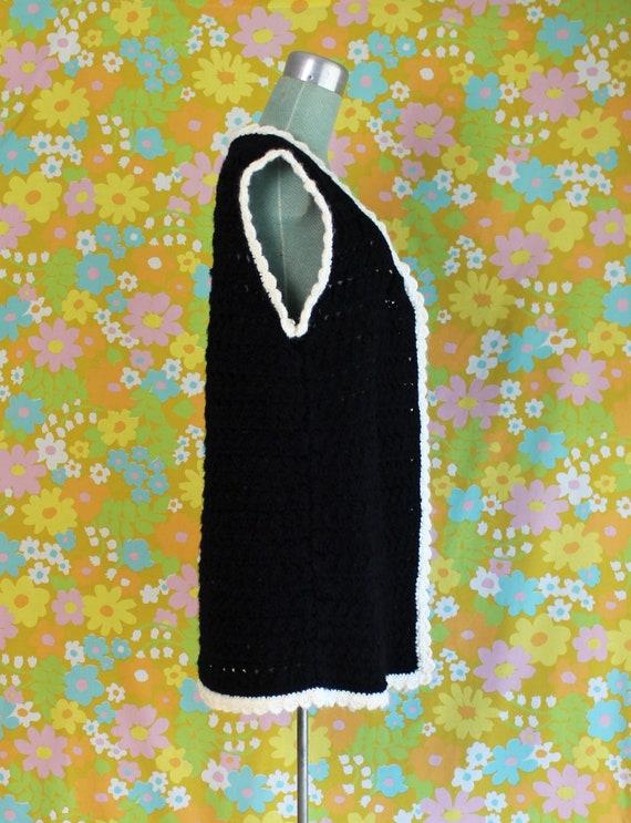 Vintage 1960's Handmade Crochet Knit Black White … - image 2