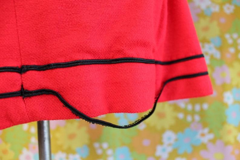 Vintage 1960/'s Candy Red Black Long Sleeved Square Neck Tie-Back Mini Shift Dress