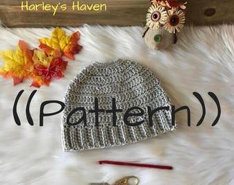 Crochet Messy Bun Beanie PATTERN / PDF / Digital Download / Adult and Child Size