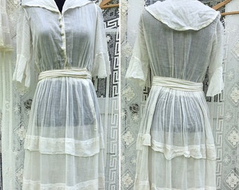 Antique 1910s Printed Cotton Day Dress Sailor Collar XS Small