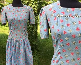 1930s 1940s Blue Skies Cotton Day Dress Feedsack Print Medium