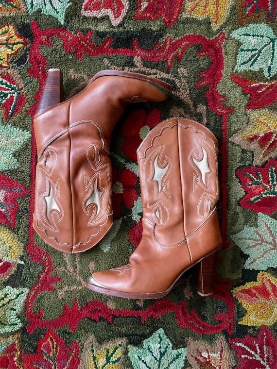 1970s Zodiac High-Heel Cowgirl Boots 9M Rockabilly