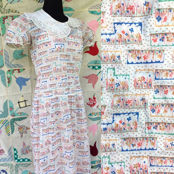Early 1930s Printed Cotton Voile Day Dress Puff Sl
