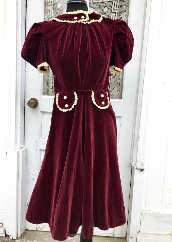 Adorable 1940s Cranberry Velvet Juniors Day Dress