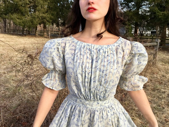 Antique 1860s Young Ladies' Summer Dress XS Sprigg