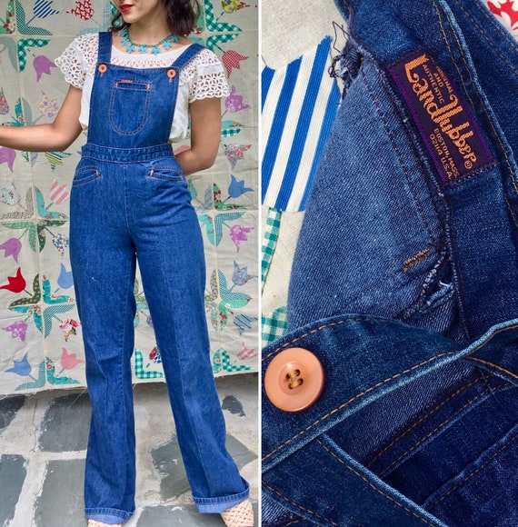 1970s LANDLUBBER Bell Bottom Overalls Denim Jumpsu