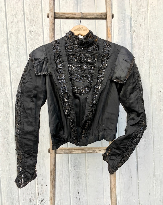 Ornate 1900s Edwardian Black Silk Mourning Bodice