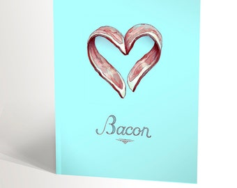 Birthday card for bacon lovers bacon in form of a heart anniversary blue and red boyfriend birthday card funny card